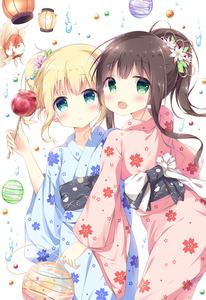 Rating: Safe Score: 0 Tags: 2girls :d animal_print aqua_eyes bangs blue_kimono blunt_bangs blush bunny_print candy_apple cherry_blossom_print closed_mouth cowboy_shot eyebrows_visible_through_hair flat_chest flower food gochuumon_wa_usagi_desu_ka? green_eyes hair_flower hair_ornament hair_stick highres holding holding_food japanese_clothes kimono kirima_sharo koi long_hair looking_at_viewer marble multiple_girls obi open_mouth pink_kimono ponytail print_kimono sash short_hair sidelocks smile standing sui-95 tippy ujimatsu_chiya water_drop white_background yukata User: Domestic_Importer