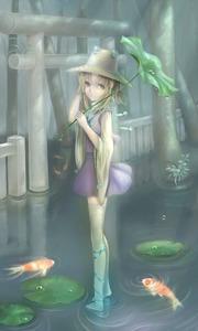 Rating: Safe Score: 0 Tags: 1girl bell blonde_hair blue_ribbon hair_ornament hair_ribbon hand_in_hair hat highres holding holding_umbrella koi leaf_umbrella lily_pad long_sleeves looking_at_viewer megumi_(piyo7piyo9) moriya_suwako open_mouth purple_skirt ribbon ripples short_hair sidelocks skirt solo standing_on_water tassel thighhighs touhou_project tree umbrella water water_drop white_legwear wide_sleeves User: DMSchmidt