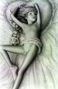 Rating: Questionable Score: 12 Tags: 1girl ankle_socks bangs belly brian_babinski covered_navel doll flat_chest heart legs_apart long_hair lying nipples on_bed pillow socks User: mythified