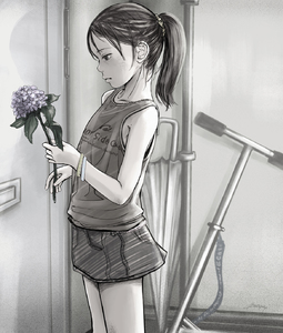 Rating: Safe Score: 9 Tags: 1girl 4bangai black_hair bracelet flat_chest flower highres long_hair ponytail scooter skirt solo umbrella User: fantasy-lover