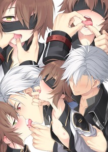 Rating: Questionable Score: 2 Tags: 1boy 1girl arm_grab black_blindfold blindfold blush brown_hair collarbone eiyuu_densetsu eyebrows_visible_through_hair faceless faceless_male finger_in_another's_mouth flat_chest green_eyes hakuleg heart heart-shaped_pupils hetero multiple_views nipples one_eye_covered open_clothes open_mouth open_shirt rean_schwartzer red_eyes saliva sen_no_kiseki shirt simple_background symbol-shaped_pupils tears tongue tongue_grab tongue_out towa_herschel white_background white_hair User: DMSchmidt