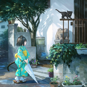 Rating: Safe Score: 1 Tags: 1girl animal animal_ears black_cat black_eyes black_hair bucket building cat cat_ears cat_tail closed_umbrella day fence geta highres holding holding_umbrella japanese_clothes kimono kitten long_sleeves looking_away obi open_mouth original outdoors plant potted_plant sash sho_(sho_lwlw) short_hair signature solo standing tabi tail tree umbrella whisker_markings white_legwear wide_sleeves yukata User: DMSchmidt