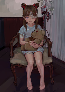 Rating: Safe Score: 5 Tags: 1girl bandaged_head bandages bangs barefoot blood blood_bag blue_eyes brown_hair chair double_bun fkey highres hug iv long_hair looking_at_viewer original pose purple_eyes reflection shadow sitting solo source_request stuffed_animal stuffed_toy teddy_bear transfusion twin_hair_buns User: DMSchmidt