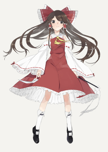 Rating: Safe Score: 0 Tags: 1girl black_eyes bow brown_hair detached_sleeves flat_chest frills full_body gohei grey_background hair_ornament hair_ribbon hair_tubes hakurei_reimu hayashi_kewi japanese_clothes long_hair long_sleeves looking_at_viewer mary_janes miko ofuda ribbon shirt shoes simple_background skirt skirt_set socks solo touhou_project vest white_legwear wide_sleeves User: DMSchmidt
