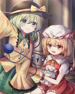 Rating: Safe Score: 0 Tags: 2girls absurdres bangs blonde_hair character_doll checkered checkered_floor cowboy_shot cravat doll_hug eyebrows_visible_through_hair fang flandre_scarlet floral_print frilled_shirt_collar frilled_skirt frills green_eyes green_hair green_skirt hair_between_eyes hat hat_ribbon highres indoors komeiji_koishi long_sleeves looking_at_viewer mob_cap multiple_girls on_floor open_clothes outstretched_arm pillar pudding_(skymint_028) puffy_short_sleeves puffy_sleeves red_eyes red_skirt red_vest remilia_scarlet ribbon rose_print self_shot shirt short_hair short_sleeves side_ponytail sitting skirt smile standing third_eye tile_floor tiles touhou_project vest white_shirt wing_collar wings yellow_neckwear yellow_shirt User: DMSchmidt