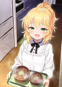 Rating: Safe Score: 1 Tags: 1girl :d blonde_hair bowl chopsticks eyebrows_visible_through_hair food frilled_shirt_collar frills green_eyes idolmaster idolmaster_cinderella_girls indoors kitchen long_sleeves looking_at_viewer matanonki medium_hair open_mouth sakurai_momoka shirt smile solo steam tray white_shirt wooden_floor User: DMSchmidt