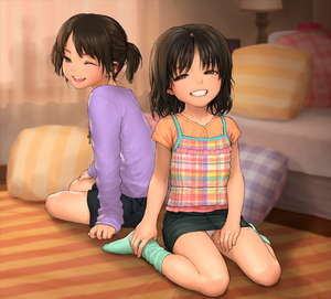Rating: Safe Score: 2 Tags: 2girls bed black_hair brown_eyes cross cross_necklace crucifix grin lamp multiple_girls one_eye_closed original panchira pantsu pantyshot_(sitting) pillow plaid plaid_shirt rustle shirt sitting skirt smile socks striped twin_tails underwear upskirt wariza User: Domestic_Importer
