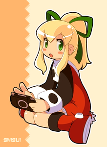 Rating: Safe Score: 0 Tags: 1girl blonde_hair capcom green_eyes handheld_game_console playstation_portable red_skirt rockman rockman_(classic) roll shisui skirt solo User: DMSchmidt