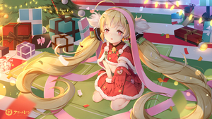 Rating: Safe Score: 1 Tags: 1girl :o azur_lane bell belt belt_buckle blonde_hair boots box buckle capelet christmas christmas_ornaments christmas_tree copyright_name eldridge_(azur_lane) fur-trimmed_capelet fur-trimmed_gloves fur-trimmed_skirt fur_trim gift gift_box gloves green_belt hair_ornament heart heart-shaped_pupils highres indoors long_hair looking_at_viewer maya_g parted_lips red_capelet red_eyes red_footwear red_gloves red_skirt signature sitting skirt solo symbol-shaped_pupils twin_tails very_long_hair wariza User: DMSchmidt