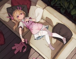 Rating: Safe Score: 8 Tags: 1girl apron blush closed_mouth collared_shirt couch hair_ornament highres indoors light_brown_hair long_hair looking_at_viewer lying natori_sana natori_youkai on_back on_couch pillow pink_apron puffy_short_sleeves puffy_sleeves red_eyes sana_channel shirt short_sleeves solo stuffed_animal stuffed_bunny stuffed_toy thighhighs two_side_up virtual_youtuber white_legwear wristband User: DMSchmidt