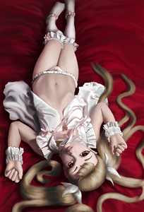 Rating: Questionable Score: 12 Tags: 1girl bad_id bad_pixiv_id bed bed_sheet blonde_hair bow breasts dance_in_the_vampire_bund drawerson fangs flat_chest lingerie long_hair looking_at_viewer lying mina_tepes on_back on_bed original red_eyes socks solo tied_hair twin_tails vampire User: Software