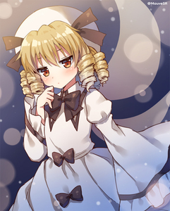 Rating: Safe Score: 0 Tags: 1girl black_bow blonde_hair blush bow brown_eyes drill_hair fairy_wings hat looking_at_viewer luna_child mauve short_hair sleeves_past_wrists solo touhou_project twitter_username wide_sleeves wings User: DMSchmidt