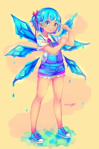 Rating: Safe Score: 0 Tags: 1girl >:) alternate_costume artist_name belt blue_belt blue_eyes blue_hair blue_shoes blue_shorts cirno clenched_hand cloudytian collared_shirt english frilled_shorts frills hair_ribbon hand_on_own_arm highres ice ice_wings looking_at_viewer melting neck_ribbon no_hair_bow orange_background overalls ponytail puddle red_ribbon ribbon shirt shoes short_hair short_sleeves shorts simple_background smile solo_focus tan tanned_cirno touhou_project white_shirt wings yellow_background User: Domestic_Importer