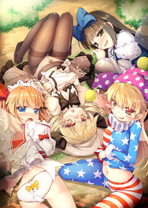 Rating: Questionable Score: 3 Tags: 4girls american_flag_dress american_flag_legwear american_flag_shirt animal_print ass bear_panties bear_print bespectacled blonde_hair blue_bow blue_eyes blush blush_stickers bow brown_eyes brown_hair brown_legwear chestnut_mouth chima_q clownpiece covered_nipples crotch_seam day dress dress_lift drill_hair fairy_wings fang full-face_blush fur_trim glasses hair_bow hair_ribbon hat headdress highres jester_cap long_hair long_sleeves looking_at_viewer looking_back luna_child lying midriff multiple_girls naughty_face navel neck_ruff on_back on_side open_clothes open_dress open_mouth orange_hair outdoors panties_under_pantyhose pantsu pantyhose polka_dot print_panties puffy_sleeves red_eyes ribbon sash shirt shirt_lift sitting smile star star_print star_sapphire striped sunny_milk thigh_gap thighband_pantyhose touhou_project twin_tails unbuttoned underwear upside-down wariza white_dress white_pantsu wide_sleeves wings User: Domestic_Importer