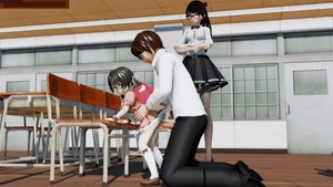 Rating: Explicit Score: 30 Tags: 1boy 2girls 3dcg age_difference animated asymmetrical_hair backpack bag bangs black_hair chair classroom clothed_sex desk doggystyle flute from_behind gif glasses instrument kaai_yuki kneeling large_penis leaning_forward long_hair looking_back multiple_girls original penis ponchi ponytail recorder school school_desk school_uniform sex short_hair side_ponytail socks standing student teacher thighhighs tied_hair vaginal vocaloid watching white_legwear wooden_floor User: Software