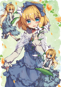 Rating: Safe Score: 0 Tags: 3girls alice_margatroid alternate_costume bangs beni_kurage blonde_hair blue_bow blue_dress blue_eyes blue_ribbon blush bobby_socks bow brooch closed_mouth collar dress eyebrows_visible_through_hair flower frilled_collar frilled_dress frills from_behind green_background hair_between_eyes hair_ribbon hand_on_own_chest head_tilt heart highres holding holding_flower jewellery lily_(flower) long_hair long_sleeves looking_at_viewer looking_back mary_janes matching_shanghai multiple_girls open_mouth ribbon shanghai_doll shoes short_hair simple_background skirt_hold sleeves_past_wrists smile socks touhou_project white_legwear wings User: DMSchmidt
