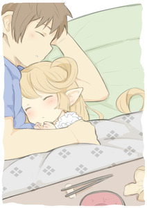 Rating: Safe Score: 8 Tags: 1boy 1girl blonde_hair brown_hair charlotta_fenia chopsticks closed_eyes from_above gran_(granblue_fantasy) granblue_fantasy harvin hug kotatsu long_hair pointy_ears sleeping table walkalone User: DMSchmidt