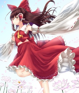 Rating: Safe Score: 0 Tags: 1girl ascot bangs bare_shoulders blue_sky blush bow breasts brown_eyes brown_hair collarbone day detached_sleeves eyebrows_visible_through_hair feet_out_of_frame floating_hair flower frilled_bow frilled_shirt_collar frills hair_between_eyes hair_bow hair_tubes hakurei_reimu highres leg_up long_hair long_sleeves looking_at_viewer medium_breasts midriff navel outdoors outstretched_arm petals petticoat pink_flower rankasei red_bow red_skirt ribbon-trimmed_sleeves ribbon_trim sarashi sidelocks skirt sky solo standing standing_on_one_leg stomach touhou_project wide_sleeves yellow_neckwear User: DMSchmidt