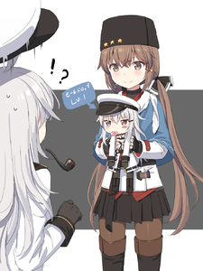 Rating: Safe Score: 1 Tags: !? 3girls ahoge bangs black_footwear black_gloves black_ribbon black_skirt blush boots brown_eyes brown_hair brown_legwear candy closed_mouth cnm directional_arrow eyebrows_visible_through_hair facial_scar fingerless_gloves food gangut_(kantai_collection) gloves hair_ornament hair_ribbon hairclip hat hibiki_(kantai_collection) highres holding kantai_collection knee_boots lollipop long_hair long_sleeves low_twintails miniskirt mouth_hold multiple_girls pantyhose pipe pleated_skirt ribbon scar silver_hair skirt smile star star_hair_ornament surprised tashkent_(kantai_collection) thigh_boots thighhighs translated twin_tails two-tone_background v-shaped_eyebrows very_long_hair white_coat white_hat younger User: Domestic_Importer