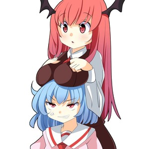 Rating: Safe Score: 0 Tags: 2girls anger_vein blue_hair breast_rest breasts breasts_on_head brown_dress clenched_teeth cowtits demon_girl demon_wings dress head_wings koakuma large_breasts long_hair long_sleeves multiple_girls no_hat no_headwear oimo_(imoyoukan) open_mouth pink_dress red_eyes red_hair remilia_scarlet touhou_project very_long_hair wings User: DMSchmidt