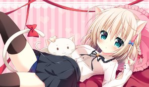 Rating: Safe Score: 2 Tags: 1girl animal_ears aqua_eyes bed_sheet black_legwear black_skirt blonde_hair blue_swimsuit blush braid breasts cat cat_ears cat_girl cat_tail frilled_pillow frills hair_ornament hair_ribbon hanamiya_natsuka heart heart_background high-waist_skirt knee_up lace_background long_sleeves lying medium_breasts on_back on_bed original parted_lips pillow pink_background pleated_skirt red_ribbon ribbon school_swimsuit short_hair skirt sleeves_past_wrists solo striped swimsuit swimsuit_under_clothes tail tail_ribbon thighhighs tress_ribbon vertical-striped_background vertical_stripes white_cat User: DMSchmidt
