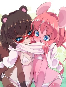 Rating: Safe Score: 2 Tags: 2girls animal_ears asymmetrical_docking belly_to_belly bikini blue_eyes blush breast_press breasts brown_hair cleavage drooling embarrassed flat_chest glasses groin heavy_breathing highres kemono mouse_ears mouse_tail multiple_girls navel open_mouth original pink_hair raccoon_ears raccoon_tail saliva scarf shared_scarf short_hair smile swimsuit tail tears upper_body white_bikini white_scarf white_swimsuit yuuki_(yuyuki000) User: DMSchmidt