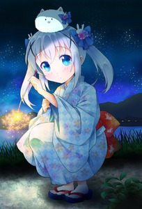 Rating: Safe Score: 2 Tags: 1girl alternate_hairstyle animal animal_on_head barefoot blue_eyes blue_hair blue_kimono blue_ribbon blush eyebrows_visible_through_hair gochuumon_wa_usagi_desu_ka? hair_ornament hair_ribbon japanese_clothes kafuu_chino kimono long_sleeves night night_sky on_head outdoors ratryu ribbon short_hair sky solo squatting star_(sky) starry_sky tabi tippy twin_tails x_hair_ornament User: DMSchmidt