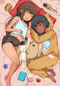 Rating: Safe Score: 4 Tags: 2girls animal_costume animal_hood bad_id bad_pixiv_id bare_shoulders barefoot bear_costume bed_sheet black_hair black_shorts blue_shirt blush brown_hair brown_skin closed_eyes diary drooling fang hai_ookami heart highres hood hood_up long_hair long_sleeves lying midriff mole mole_under_eye multiple_girls navel on_bed on_side open_mouth original pillow red_pillow revision saliva shirt shorts sleeping star stuffed_animal stuffed_bunny stuffed_toy tan tank_top thick_eyebrows very_long_hair User: DMSchmidt