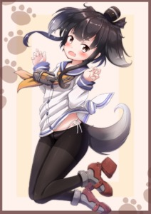 Rating: Safe Score: 3 Tags: 1girl :d anchor anchor_symbol black_legwear black_ribbon blue_sailor_collar blush brown_eyes brown_hair chain dog_tail fang fingernails full_body gradient_hair hair_ribbon hands_up hat kantai_collection kemonomimi_mode long_sleeves mini_hat mochiyuki multicoloured_hair neckerchief open_mouth orange_neckwear panties_under_pantyhose pantsu pantyhose print_ribbon red_footwear ribbon rudder_shoes sailor_collar school_uniform serafuku shirt side-tie_panties silver_hair sleeves_past_wrists smile smokestack solo tail thick_eyebrows tied_shirt tokitsukaze_(kantai_collection) underwear white_pantsu white_shirt User: Domestic_Importer