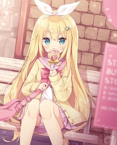 Rating: Safe Score: 4 Tags: 1girl bag bench blonde_hair blue_eyes blurry blurry_foreground blush bow bowtie brick_wall buttons candy cardigan covering_mouth depth_of_field dutch_angle feet_out_of_frame food hair_ornament hair_ribbon hairband hairclip highres holding holding_food holding_lollipop hoshi_(snacherubi) knees_together_feet_apart lollipop long_hair long_sleeves looking_at_viewer miniskirt on_bench original outdoors panchira pantsu pantyshot_(sitting) pink_sailor_collar pink_skirt pleated_skirt red_bow red_neckwear ribbon sailor_collar school_uniform serafuku shoulder_bag signature sitting skirt sleeves_past_wrists solo star star_hair_ornament swirl_lollipop underwear very_long_hair white_pantsu white_ribbon User: DMSchmidt