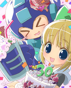Rating: Safe Score: 0 Tags: 1boy 1girl :3 android anniversary blonde_hair blue_eyes blue_gloves blush blush_stickers bow cake candle capcom closed_eyes confetti e-tank eyebrows_visible_through_hair fringe gloves hair_ribbon happy helmet highres hoodie looking_at_viewer mug open_mouth ribbon rockman rockman_(character) rockman_(classic) roll sidelocks smile strawberry User: Domestic_Importer