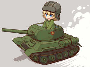 Rating: Safe Score: 0 Tags: 1girl bangs black_hat blonde_hair blue_eyes blush_stickers chibi girls_und_panzer grey_background ground_vehicle hat helmet highres katyusha long_sleeves looking_to_the_side military military_vehicle motor_vehicle open_mouth pravda_(emblem) riding sabaku_chitai short_hair short_jumpsuit sitting smile solo t-34 tank User: Domestic_Importer