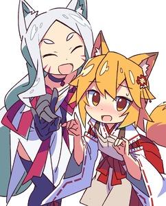 Rating: Safe Score: 1 Tags: 2girls :d animal_ears apron blonde_hair eyebrows_visible_through_hair fox_ears fox_tail hair_ hair_ornament highres japanese_clothes jewellery kimono long_hair miko multiple_girls necklace open_mouth ponytail roku_no_hito senko_(sewayaki_kitsune_no_senko-san) sewayaki_kitsune_no_senko-san shiro_(sewayaki_kitsune_no_senko-san) short_hair silver_hair smile tail thighhighs User: Domestic_Importer