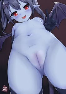 Rating: Questionable Score: 17 Tags: 1girl :d >:d artist_name ass_visible_through_thighs black_gloves black_hair black_legwear black_sclera blue_skin blush breasts clitoris decensored demon_girl demon_tail demon_wings devil_(monster_girl_encyclopedia) earrings elbow_gloves fangs from_below gloves hair_between_eyes head_wings heart heart_earrings highres jewellery long_hair looking_at_viewer looking_down monster_girl_encyclopedia navel nipples nude nyatrix open_mouth pointy_ears pussy red_eyes sharp_teeth small_breasts smile solo standing tail teeth thighhighs third-party_edit twin_tails uncensored v v-shaped_eyebrows wings User: Domestic_Importer