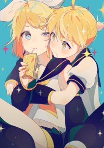 Rating: Safe Score: 2 Tags: 1boy 1girl blonde_hair blue_background blue_eyes blush box cheek-to-cheek chin_rest detached_sleeves drinking drinking_straw drowning fingernails frown hair_ornament hair_ribbon hairclip holding holding_box juice_box kagamine_len kagamine_rin looking_at_another musical_note nail_polish navel nervous puffy_short_sleeves puffy_sleeves ribbon sailor_collar saliva shirt short_hair short_sleeves simple_background sparkle sparkle_background sparkling_eyes sweatdrop treble_clef vocaloid white_shirt yellow_nails yellow_ribbon yuno_tsuitta User: DMSchmidt