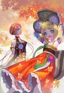 Rating: Safe Score: 0 Tags: 2girls :d animal_ear_fluff animal_ear_request animal_ears armpits arms_up autumn_leaves backlighting bare_arms bare_shoulders basket blade_&_soul blonde_hair blue_eyes breasts cleavage closed_mouth day detached_sleeves fang flat_chest floral_print flower_knot hanbok hands_above_head jin_(blade_&_soul) korean_clothes leaf lino_chang long_sleeves looking_at_viewer lyn_(blade_&_soul) maple_leaf medium_breasts multicoloured_sleeves multiple_girls nape open_mouth outdoors outstretched_wrists pink_hair profile ribbon_trim short_hair smile tail tree very_short_hair User: DMSchmidt