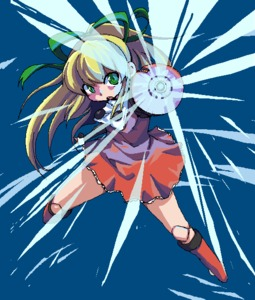 Rating: Safe Score: 2 Tags: 1girl arm_cannon blonde_hair boots capcom doll_joints green_eyes kaipo knee_boots red_skirt ribbon rockman rockman_(classic) roll skirt solo weapon User: DMSchmidt