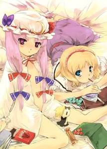 Rating: Safe Score: 1 Tags: 2girls alice_margatroid barefoot bed blonde_hair blue_eyes book candy long_hair low-tied_long_hair multiple_girls open_clothes patchouli_knowledge pocky purple_eyes purple_hair touhou_project yuu_(kfc) User: DMSchmidt