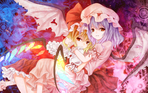 Rating: Safe Score: 1 Tags: 2girls bat_wings blonde_hair blue_hair flandre_scarlet glowing hat highres hug kamumiya lavender_hair multiple_girls red_eyes remilia_scarlet short_hair siblings sisters touhou_project wallpaper wings User: DMSchmidt
