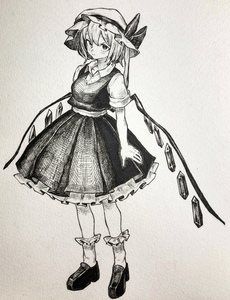 Rating: Safe Score: 0 Tags: 1girl absurdres bangs blush bow closed_mouth eyebrows_visible_through_hair flandre_scarlet full_body hat hat_bow highres loafers long_hair looking_at_viewer mashimashi mob_cap monochrome shoes short_sleeves side_ponytail skirt skirt_set socks solo standing touhou_project traditional_media User: DMSchmidt