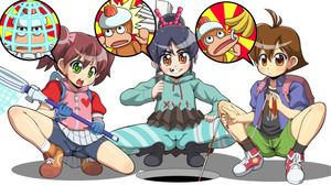 Rating: Questionable Score: 2 Tags: 3girls backpack bag bangs blush bow cameltoe candy_hair_ornament closed_mouth crossover food_themed_hair_ornament full_body genkotsu_herajika gloves green_eyes grin hair_bow hair_ornament highres holding hoodie jacket long_sleeves looking_at_viewer multiple_girls open_mouth pantyhose pleated_skirt ponytail shoes short_hair short_sleeves simple_background skirt smile socks spats squatting teeth tooth_gap twin_tails vanellope_von_schweetz white_background white_skirt wreck-it_ralph User: Domestic_Importer