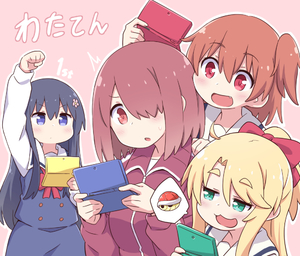 Rating: Safe Score: 1 Tags: 4girls :3 black_hair blonde_hair blue_eyes bow brown_hair copyright_name eyebrows_visible_through_hair fang flower green_eyes hair_bow hair_flower hair_ornament hair_over_one_eye handheld_game_console himesaka_noa holding hoshino_hinata hoshino_miyako_(wataten) jacket koopa_troopa long_hair mario_kart multiple_girls nintendo_3ds orange_eyes orange_hair playing_games red_eyes school_uniform shirosaki_hana short_hair siblings side_ponytail simple_background sisters smug spoken_object sweatdrop track_jacket track_suit vincent_(hiyakuen) watashi_ni_tenshi_ga_maiorita! User: Domestic_Importer