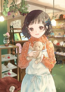 Rating: Safe Score: 1 Tags: 1girl apron arms_up bangs black_hair brown_eyes bunapi_(bunapii) ceiling_light cup eyebrows_visible_through_hair flower greeting_card hair_ribbon head_tilt highres holding holding_stuffed_animal light_particles long_sleeves looking_at_viewer name_tag open_mouth orange_sweater original parted_lips plate ribbon shelf shop short_hair solo stuffed_animal stuffed_bunny stuffed_toy sweater teacup teddy_bear vase User: DMSchmidt