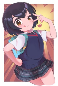 Rating: Safe Score: 2 Tags: 1girl :q backpack bag black_hair blush brown_eyes brown_hair cropped_legs flat_chest gashi-gashi hand_on_hip heart highres marvel outside_border peni_parker plaid plaid_skirt pleated_skirt popped_collar raised_eyebrow school_uniform short_hair skirt solo spider-man:_into_the_spider-verse spider-man_(series) sweater_vest tongue tongue_out v_over_eye User: DMSchmidt