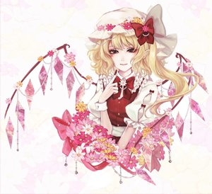 Rating: Safe Score: 0 Tags: 1girl alternate_costume bangs blonde_hair bow crystal flandre_scarlet flower frilled_shirt frilled_sleeves frills hat highres jewellery kyogoku-uru medium_hair mob_cap puffy_short_sleeves puffy_sleeves red_bow red_eyes red_ribbon red_vest ribbon shirt short_sleeves side_ponytail simple_background solo touhou_project vest white_shirt wings wrist_cuffs User: DMSchmidt