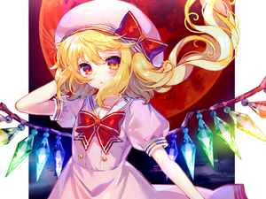 Rating: Safe Score: 0 Tags: 1girl :o arm_up bangs blonde_hair blush bow bowtie crystal dress flandre_scarlet glowing hat hat_bow highres hinasumire long_hair moon outside_border parted_lips pink_dress puffy_short_sleeves puffy_sleeves red_bow red_moon red_neckwear sailor_collar sailor_dress shiny shiny_hair short_sleeves side_ponytail solo tareme touhou_project upper_body white_hat white_sailor_collar wind User: DMSchmidt