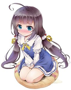 Rating: Questionable Score: 2 Tags: 10s 1girl ahoge bangs between_legs blue_dress blue_eyes blush brown_hair closed_mouth collarbone dress embarrassed eyebrows_visible_through_hair flat_chest have_to_pee hinatsuru_ai ratryu ryuuou_no_oshigoto! User: Domestic_Importer