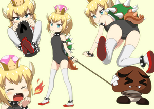 Rating: Safe Score: 1 Tags: 1girl >_< all_fours bangs bare_shoulders black_collar black_leotard blonde_hair blue_eyes blush bowsette bracelet breathing_fire bullet_bill collar covered_navel crown eyebrows_visible_through_hair fang fang_out fire goomba highres horns jewellery leotard looking_at_viewer looking_back mario_(series) multiple_views new_super_mario_bros._u_deluxe nintendo ogyadya pointy_ears red_footwear sharp_teeth short_hair spiked_anklet spiked_armlet spiked_bracelet spiked_collar spiked_shell spiked_tail spikes standing super_crown tail teeth thighhighs turtle_shell tusks yawning younger User: Domestic_Importer