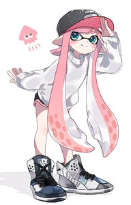 Rating: Safe Score: 1 Tags: 1girl bangs baseball_cap black_hat black_shorts blunt_bangs closed_mouth cross-laced_footwear domino_mask emblem full_body green_eyes hat high_tops inkling leaning_forward long_hair long_sleeves looking_at_viewer maco_spl mask pink_hair pointy_ears shading_eyes short_shorts shorts simple_background smile solo splatoon splatoon_2 squid standing sweater tentacle_hair very_long_hair white_background white_footwear white_sweater User: DMSchmidt
