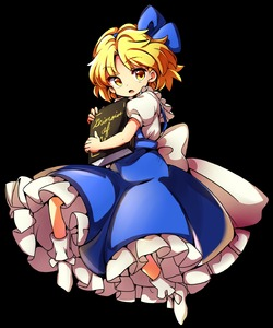 Rating: Safe Score: 0 Tags: 1girl alice_margatroid alice_margatroid_(pc-98) baba_(baba_seimaijo) blonde_hair blue_bow blue_skirt blush bobby_socks book book_hug bow frilled_skirt frills full_body grimoire_of_alice hair_bow highres holding holding_book looking_at_viewer open_mouth puffy_short_sleeves puffy_sleeves short_sleeves skirt socks solo suspender_skirt suspenders tachi-e touhou_(pc-98) touhou_project transparent_background yellow_eyes User: DMSchmidt